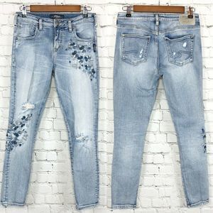 Silver Jeans Izzy Embroidered Distressed Skinny 26